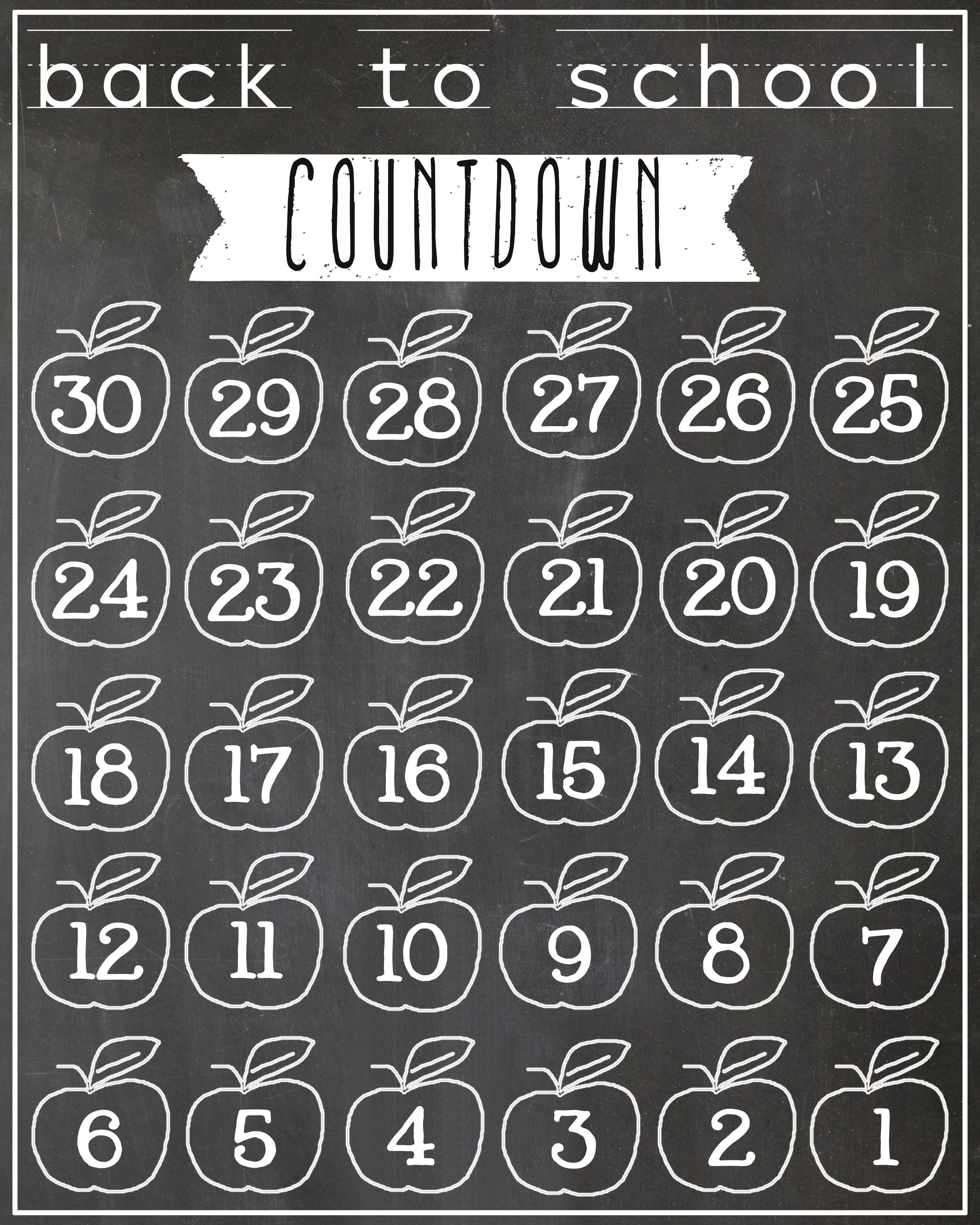 Chalkboard Back to School Countdown Printable {FREE!}