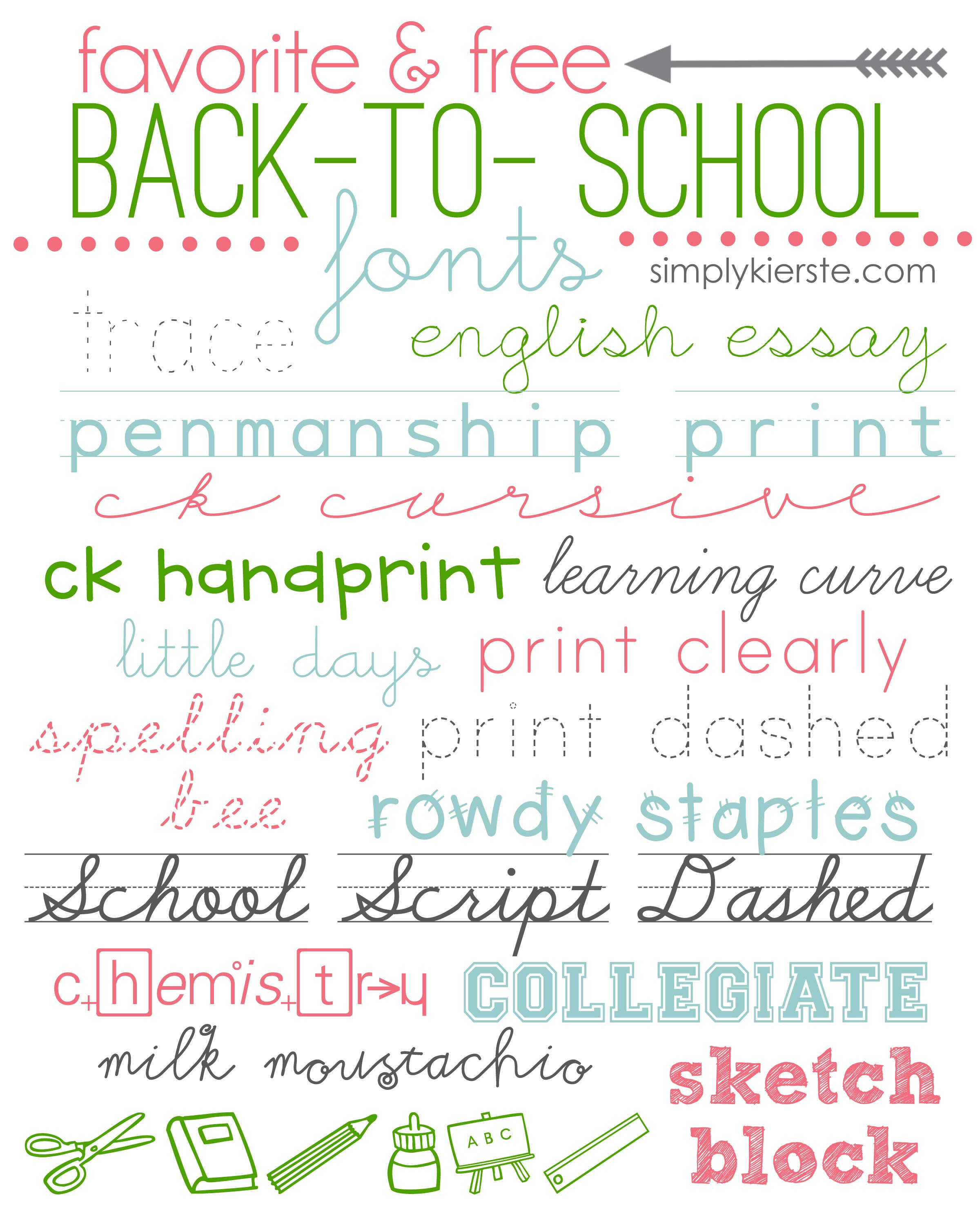 Favorite & FREE Back-to-School Fonts!