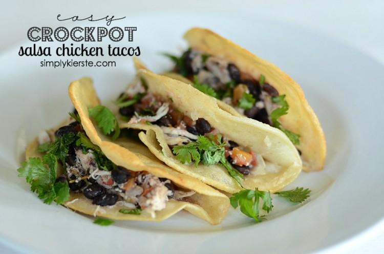 Easy Crockpot Salsa Chicken Tacos | oldsaltfarm.com