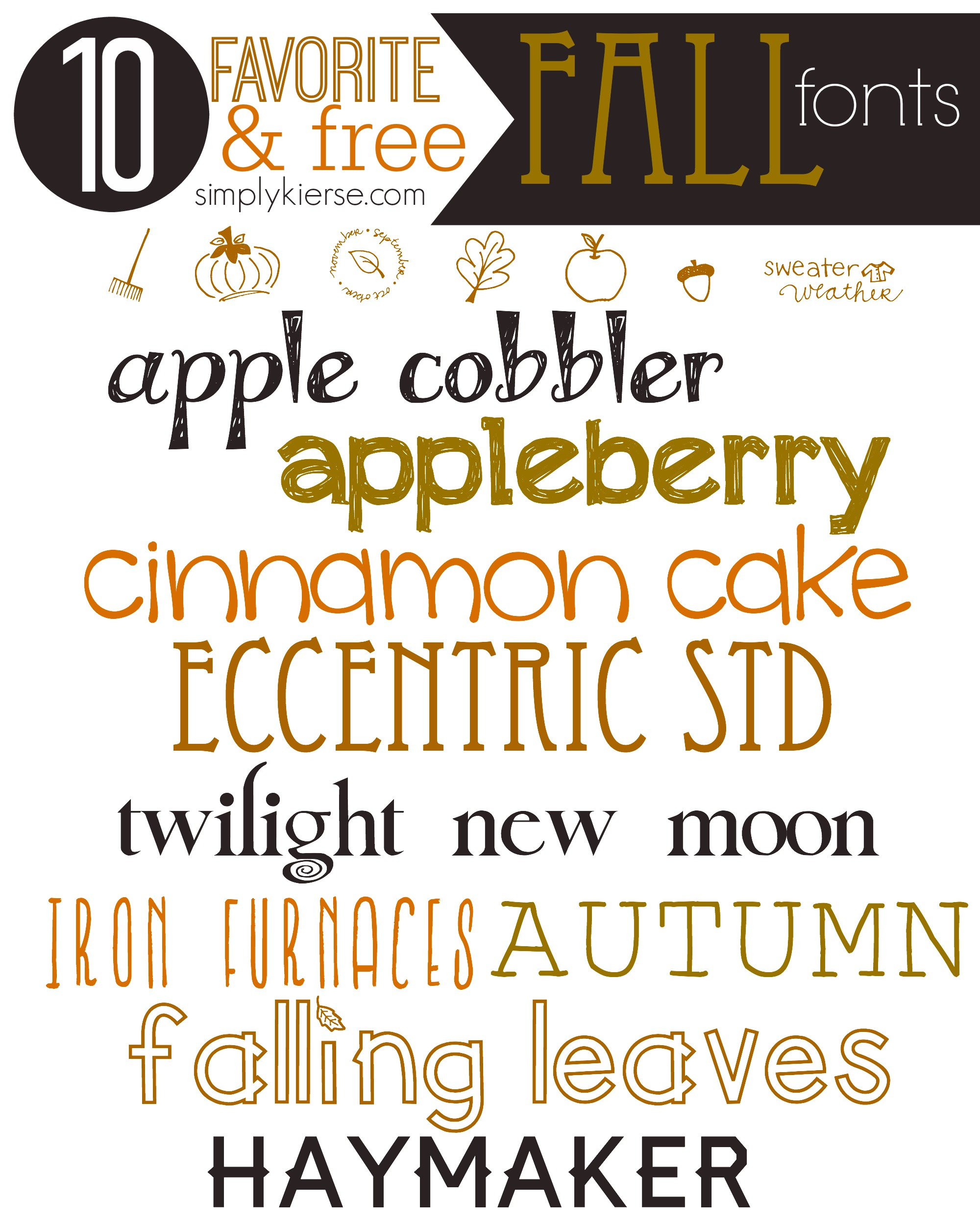 Favorite & FREE Fall Fonts | simplykierste.com