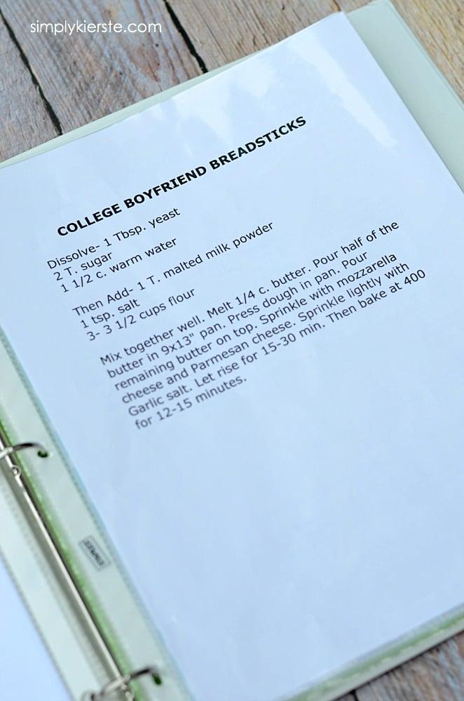 diy recipe binder free printables