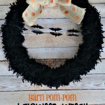 Yarn Pom-Pom Halloween Wreath
