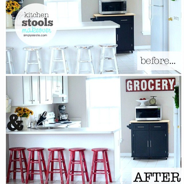 We moved into an apartment when we came to NY, because we are going to build a house. While I can't paint walls, I can brighten and add much needed pops of color by #paintingfurniture. I love my kitchen stools red--such a simple transformation makes all the difference! Details #ontheblog today. Link in profile. #simplykierste #diy #glidden #ppgad