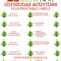 25 Days of Family Christmas Activities + Free Printable Labels | simplykierste.com #christmastraditionsforfamiilies #christmastraditions #familychristmasactivities