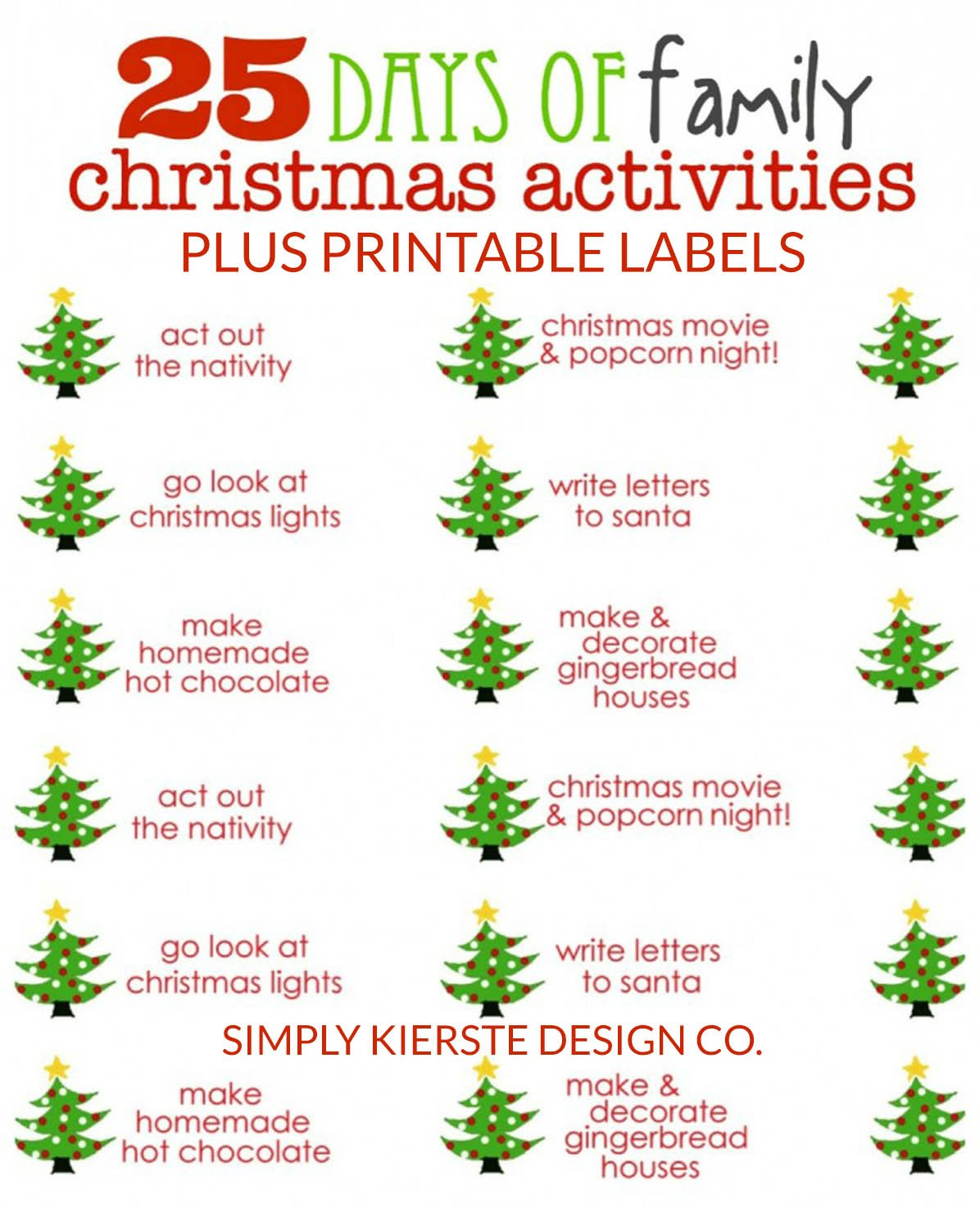 25 days of family christmas activities free printable labels simplykierstecom christmastraditionsforfamiilies