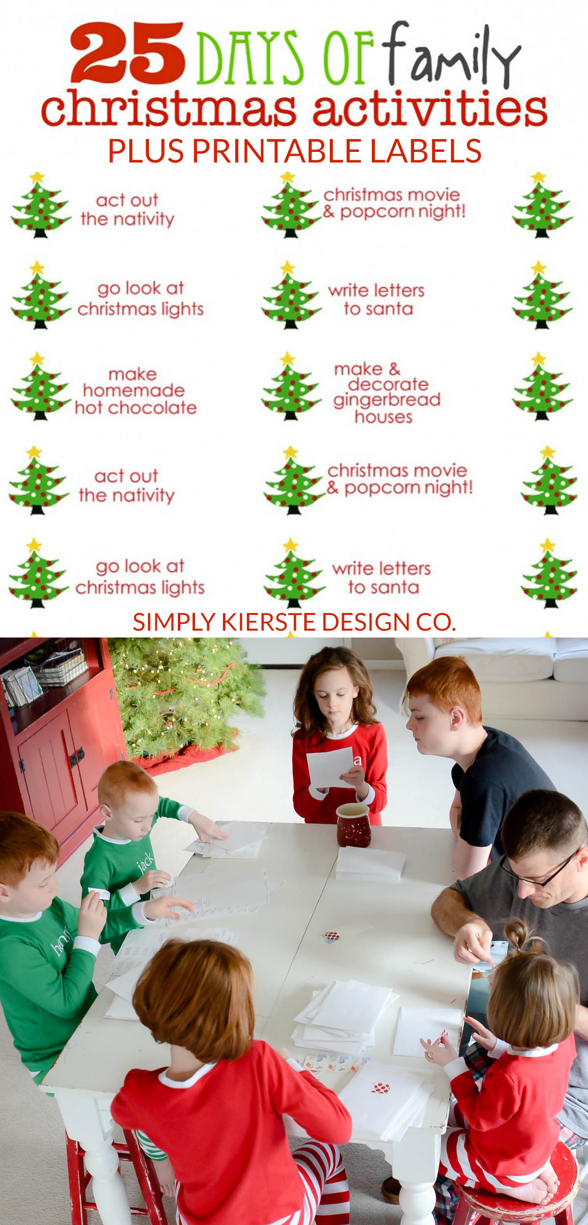 25 days of family christmas activities free printable labels simplykierstecom christmastraditionsforfamiilies - Christmas Eve Activities