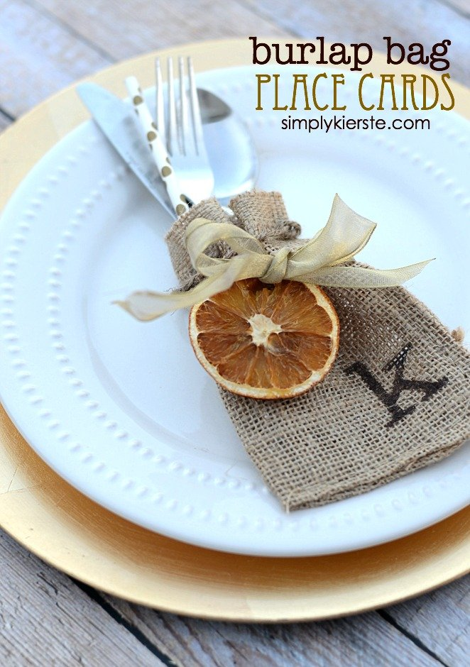 Burlap Bag Place Cards | simplykierste.com