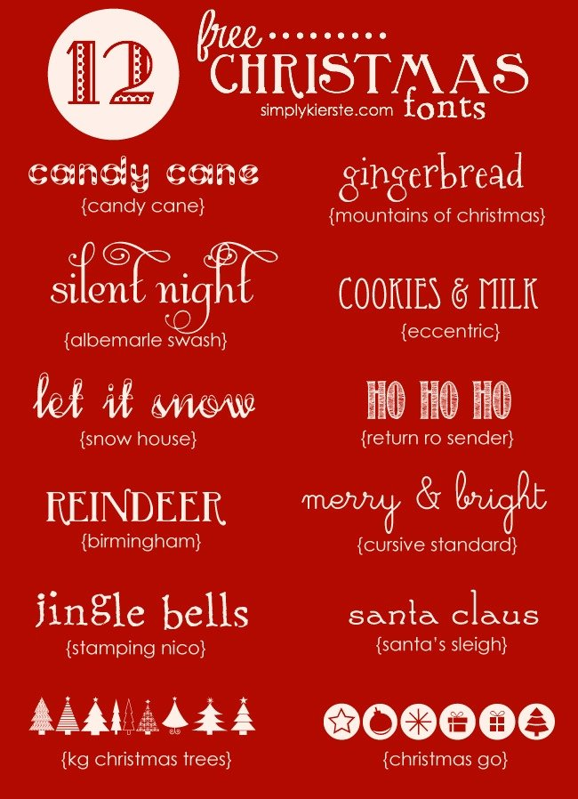 Favorite Free Christmas Fonts | simplykierste.com