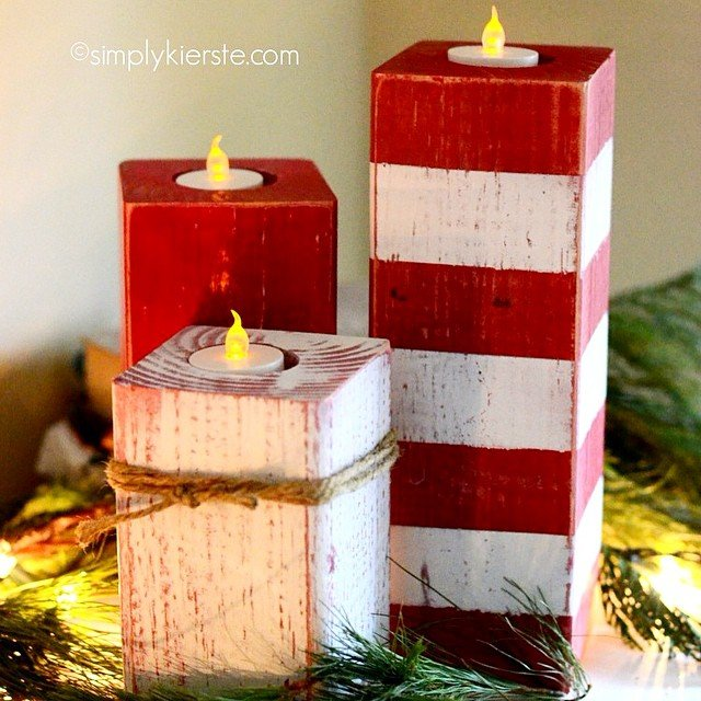 These darling Peppermint Striped Candlesticks are easy and inexpensive to make, and perfect for your #holiday decor and gift giving! I use battery-operated lights for indoor or outdoor use. Link in profile--just search for candlesticks and they'll pop right up! #simplykierste #christmasdecor #christmascrafts #woodprojects