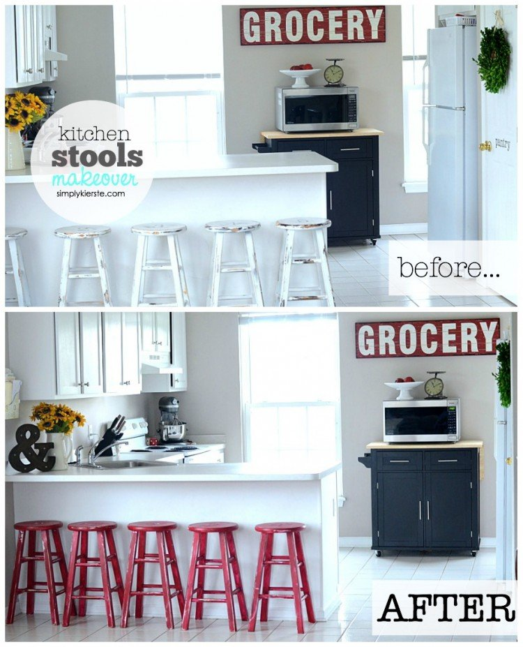 Kitchen Stools Makeover with Glidden | simplykierste.com
