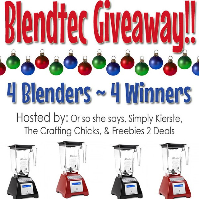 Four winners...four amazing @blendtec blenders! Head on over to simplykierste.com to enter, then head on over to @orsoshesays @freebies2deals and @craftingchicks to enter there! I totally wish I could enter. :) Hurry quick--it ends tomorrow!! Link in profile--just scroll down a little on the first page. #giveaway #blendtec