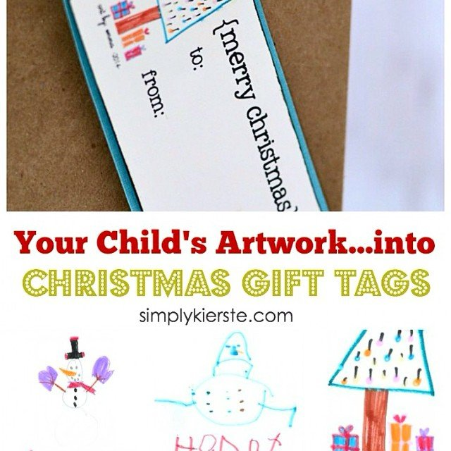 My very favorite gift tags are the ones that my kids design! They end up being keepsakes, and I love looking at them from year to year. Turn your children's artwork into adorable #gifttags and it really is easy to do--I'm showing you how! Details #ontheblog and my link is in my profile! #christmas #christmasgifts #giftpackaging #holidaypackaging #kidsart #kidscrafts #christmascrafts