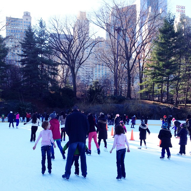 Ice skating in Central Park...we didn't want to leave! Sun shining, big buildings in the background, beautiful setting, and Christmas music playing...perfection. #itsthemostwonderfultimeofyear #centralpark #iceskatingincentralpark #christmasinnewyork