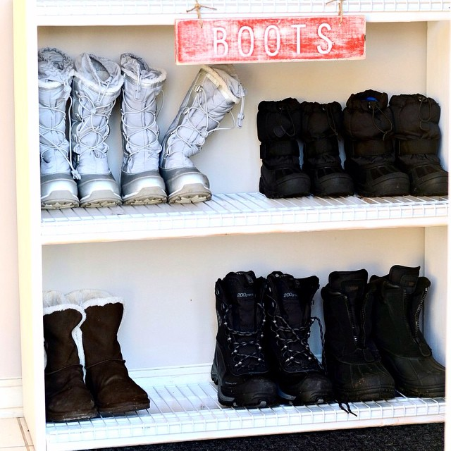 The mud. The salt. The wet. The drippy. I do not want any of it in my house! We built a simple and easy shoe shelf that saved the day, and all the details are #ontheblog today! Plus...you can enter to win a Rockwell Bladerunner X2 Tabletop Saw!!! It cuts wood, metal, plastic and tile! Link in profile. #simplykierste #ad #tablesaw #diy #shoeshelf
