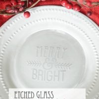 Etched Glass Christmas Plate | oldsaltfarm.com
