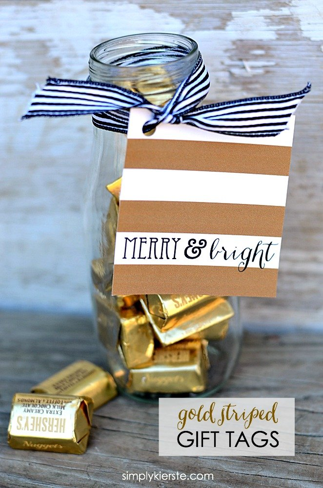 Gold Striped Christmas Gift Tags