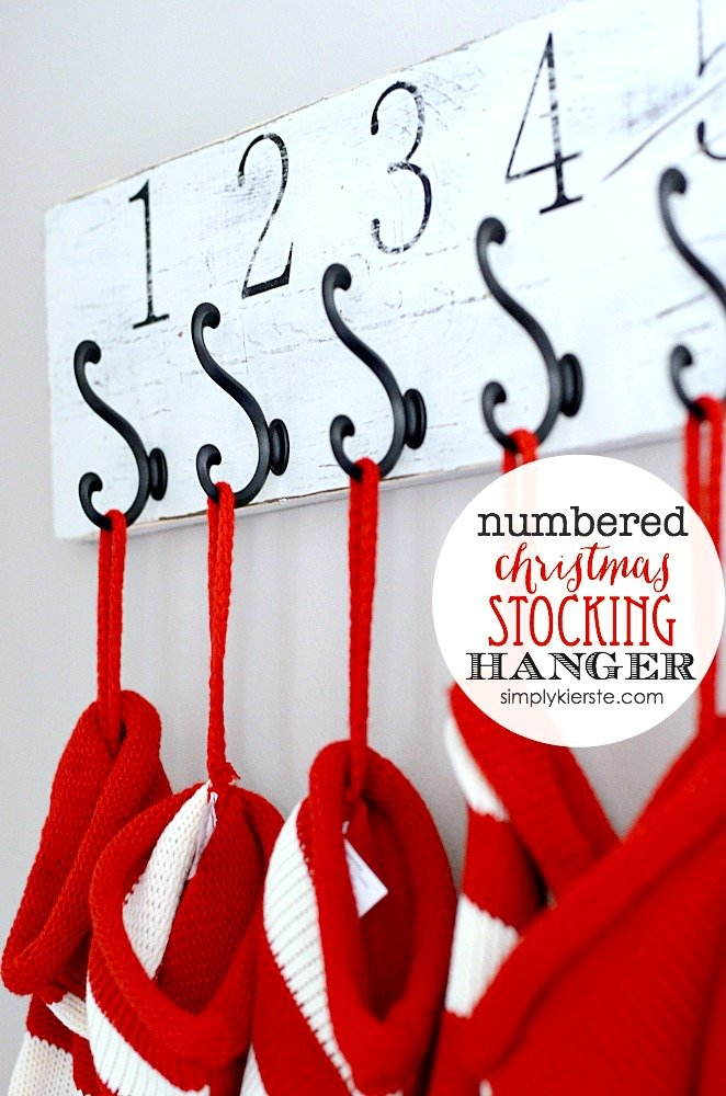 Easy Numbered Wall Mounted Stocking Holder via Simply Kierste