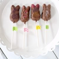 Chocolate-Covered Peeps Pops