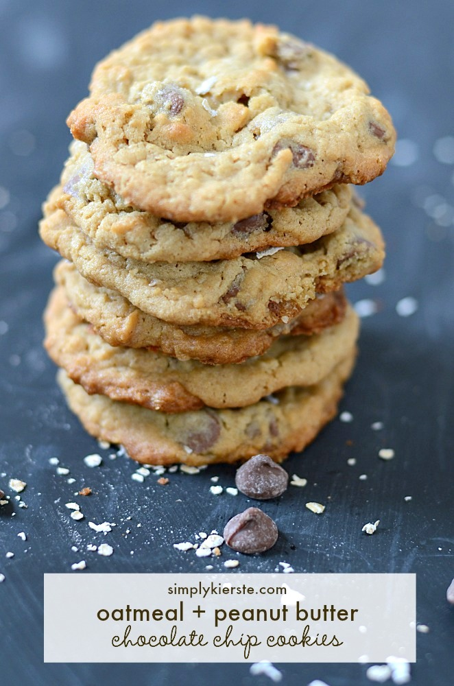Peanut Butter-Oatmeal-Chocolate Chip Cookies Recipe — Dishmaps