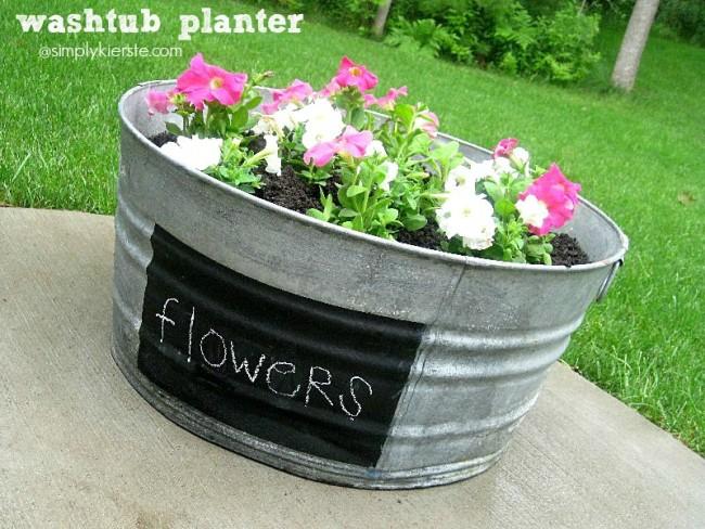Washtub Flower Planter   oldsaltfarm.com