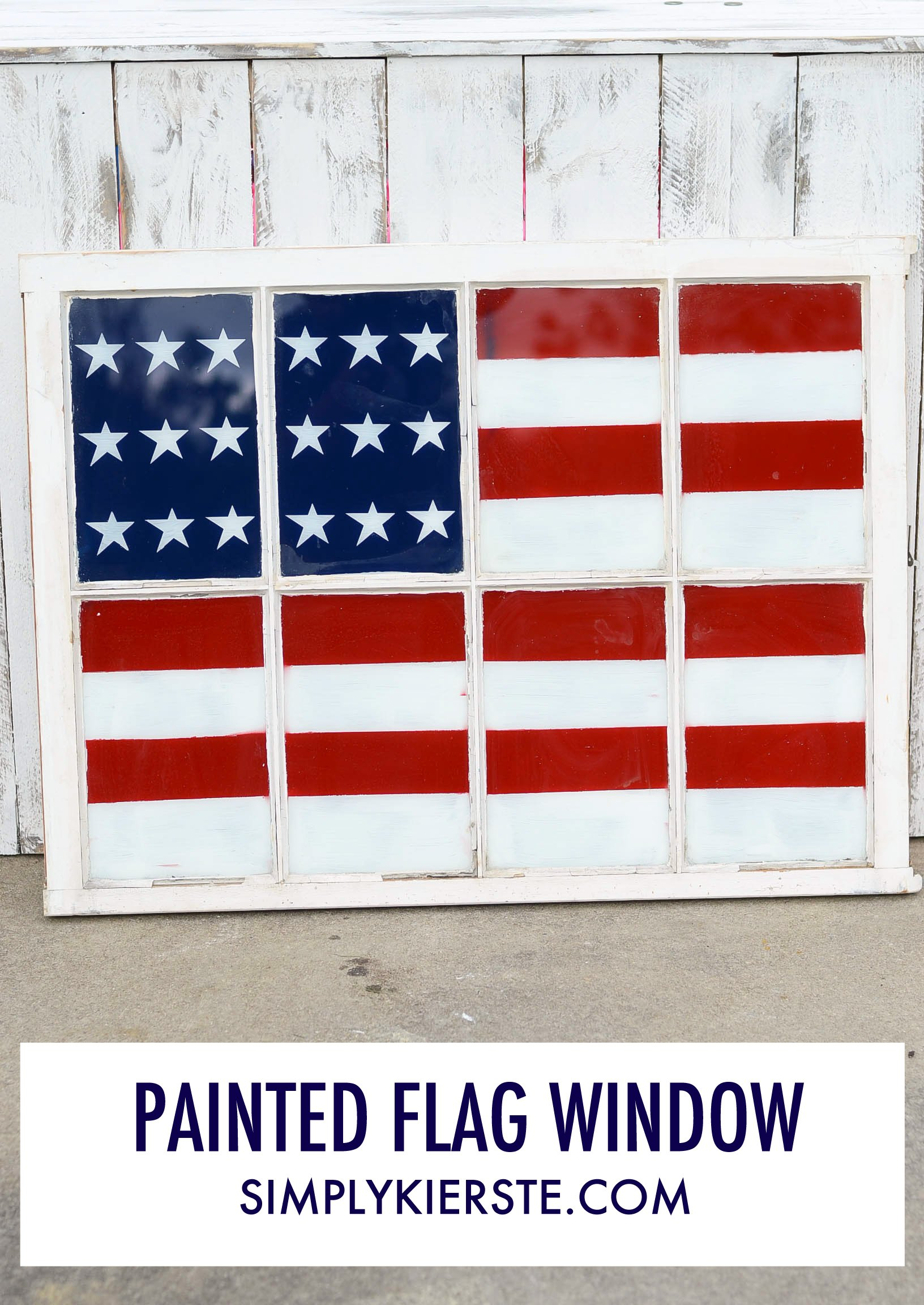 Painted Flag Window | 4th of July | oldsaltfarm.com