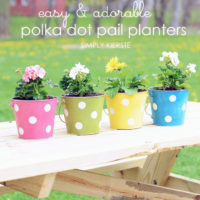 Polka dot pail flower planter