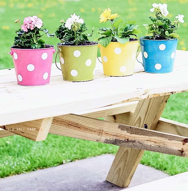 Polka Dot Pail Flower Planters