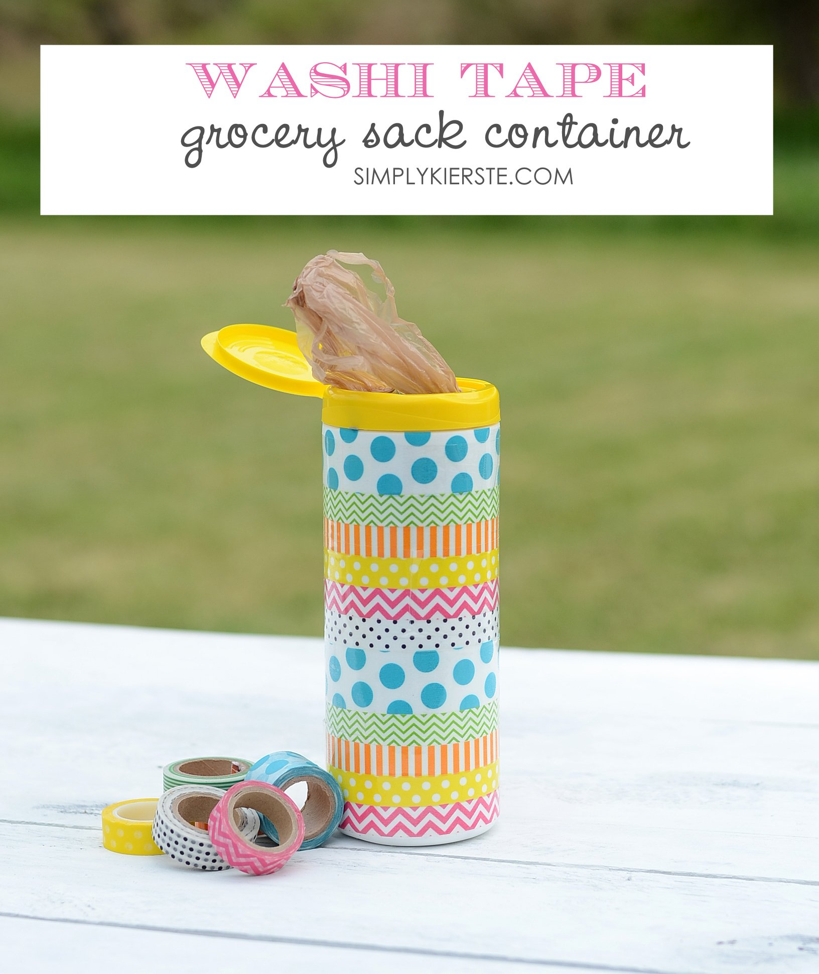 Washi tape grocery bag containers