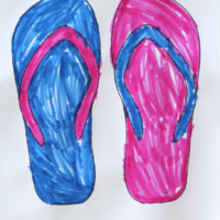 Summer fun: free flip flops coloring page