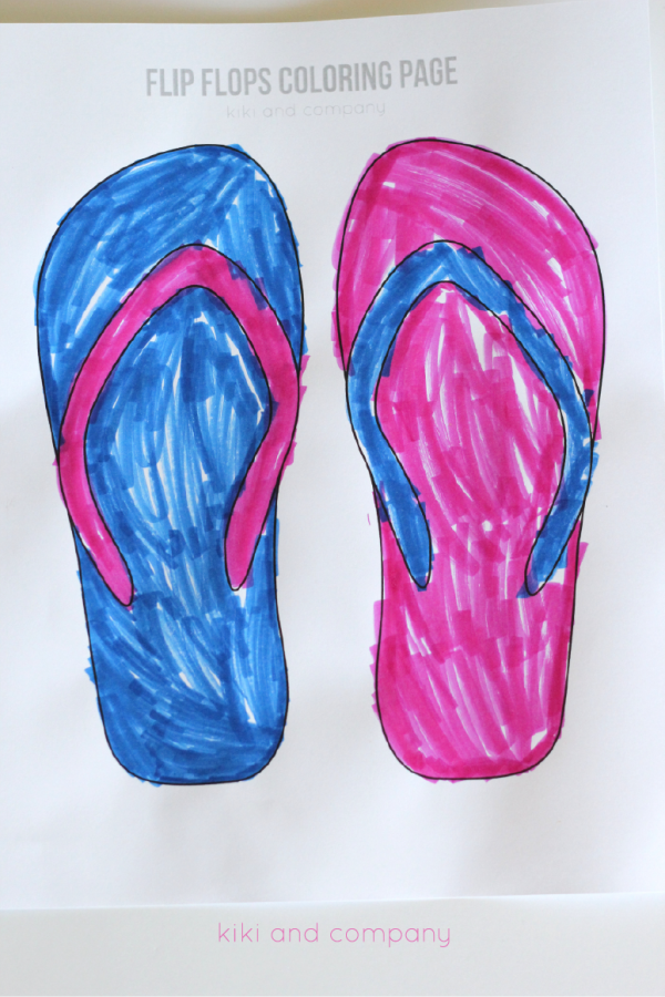 Summer Fun Free Flip Flops Coloring Page