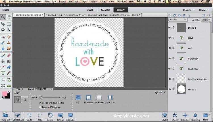 An easy way to create circular text in Photoshop Elements | oldsaltfarm.com