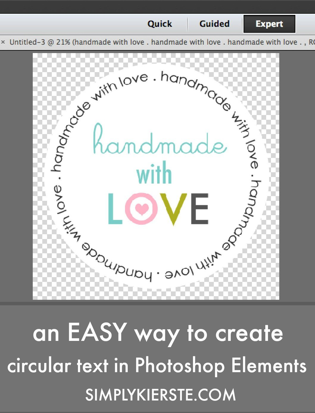 An easy way to create circular text in Photoshop Elements