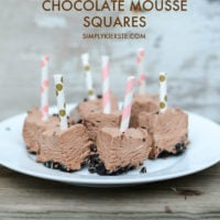 Frozen chocolate mousse squares