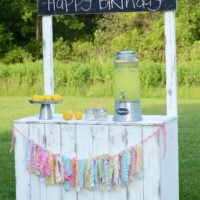 Vintage lemonade stand with reversible chalkboard sign