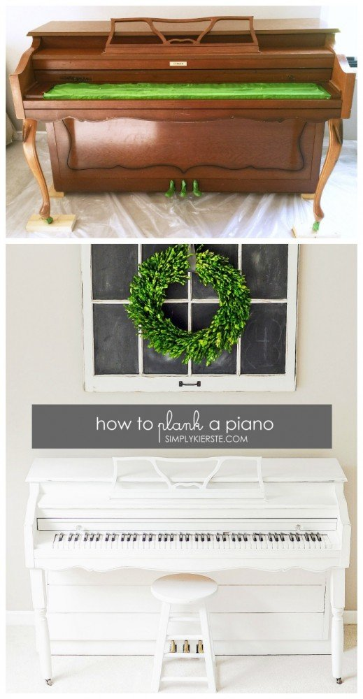 How to plank a piano & a chalk paint piano makeover | simplykierste.com