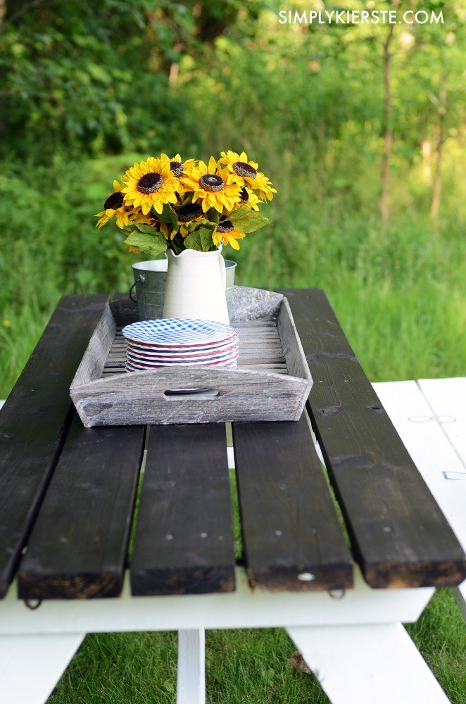 Farmhouse Style Picnic Table Simplykierstecom - How to stain a picnic table