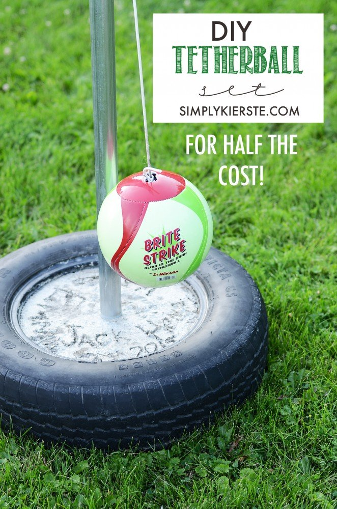 How To Make Your Own DIY Tetherball Set For Half the Cost! #tetherball #outdoorfun #backyardideas #outdoorideas #outdoorspaces #outdoorgames #diytetherball #diybackyardgames #diybackyardfun #backyardfun #budgetbackyard