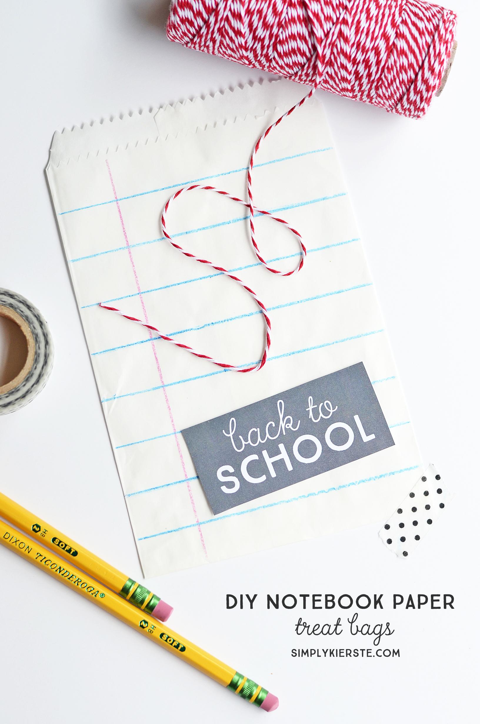 DIY notebook paper treat bags