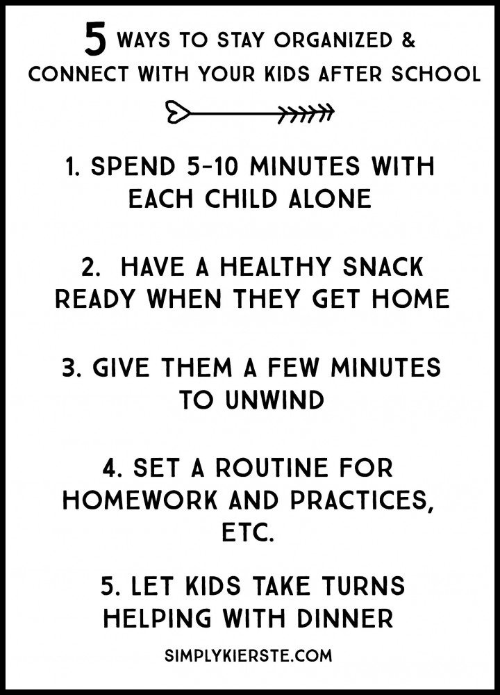 5 ways to connect with your kids & stay organized after school | oldsaltfarm.com