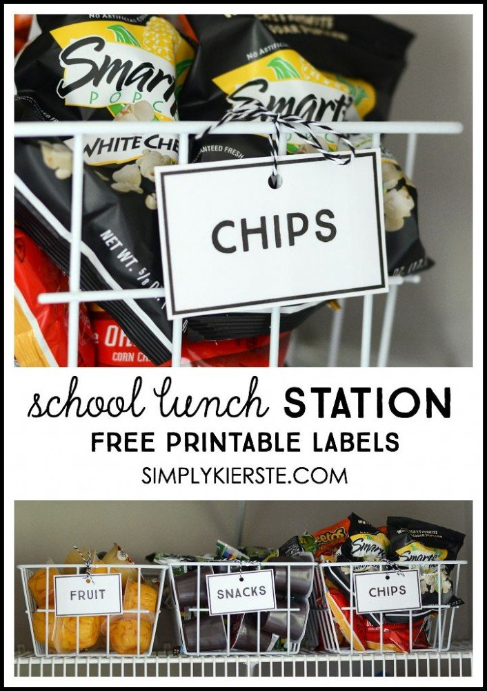 Make packing school lunches faster and easier with a lunch packing station! Free printable labels included! | simplykierste.com