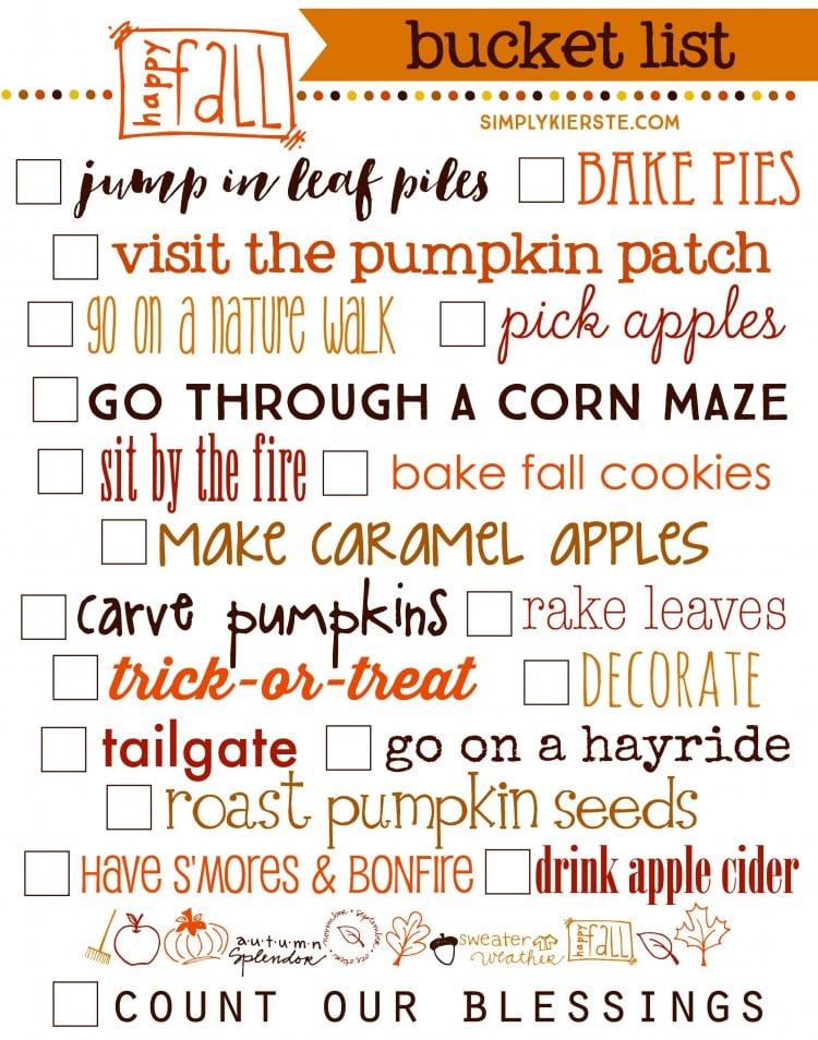 Fall Bucket List | Free Printable | oldsaltfarm.com