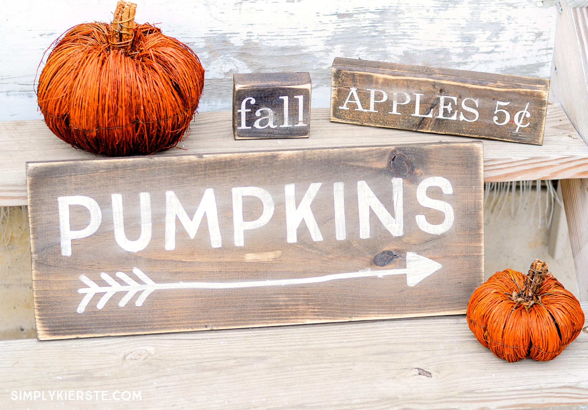 Farmhouse Style Fall Wood Signs| Free Silhouette Cut File | simplykierste.com