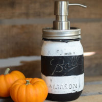 Striped mason jar soap pump…perfect for Halloween!