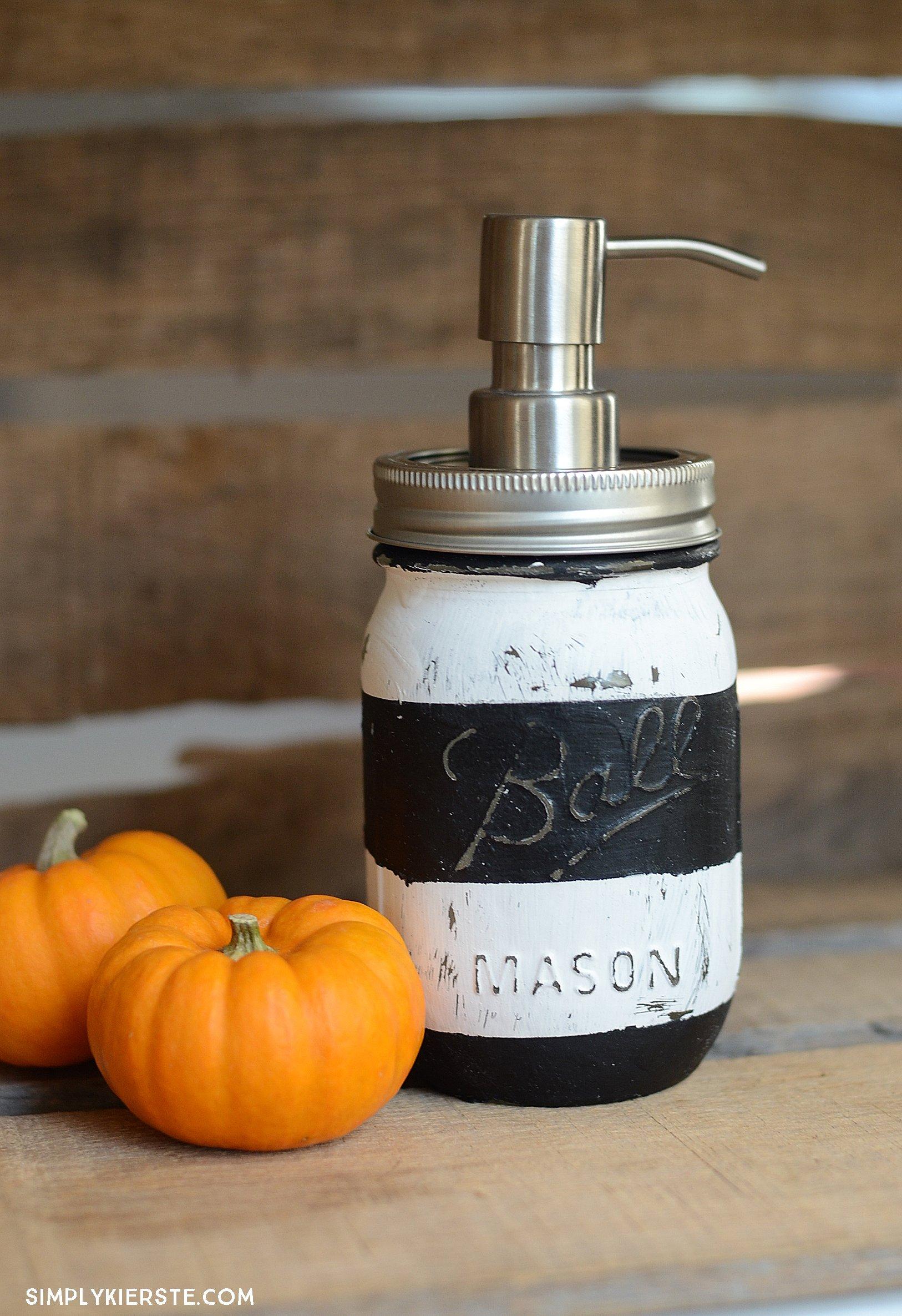 Striped Halloween Mason Jar Soap Pump