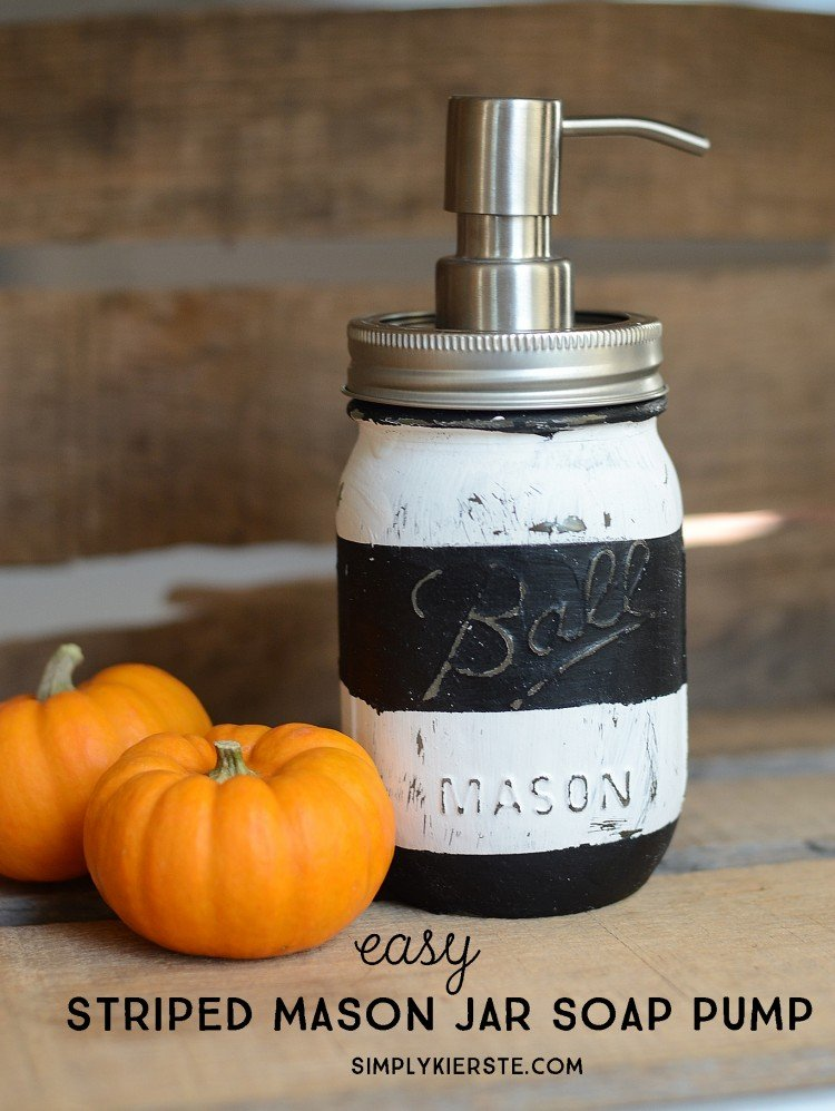 DIY Striped Mason Jar Soap Pump | oldsaltfarm.com
