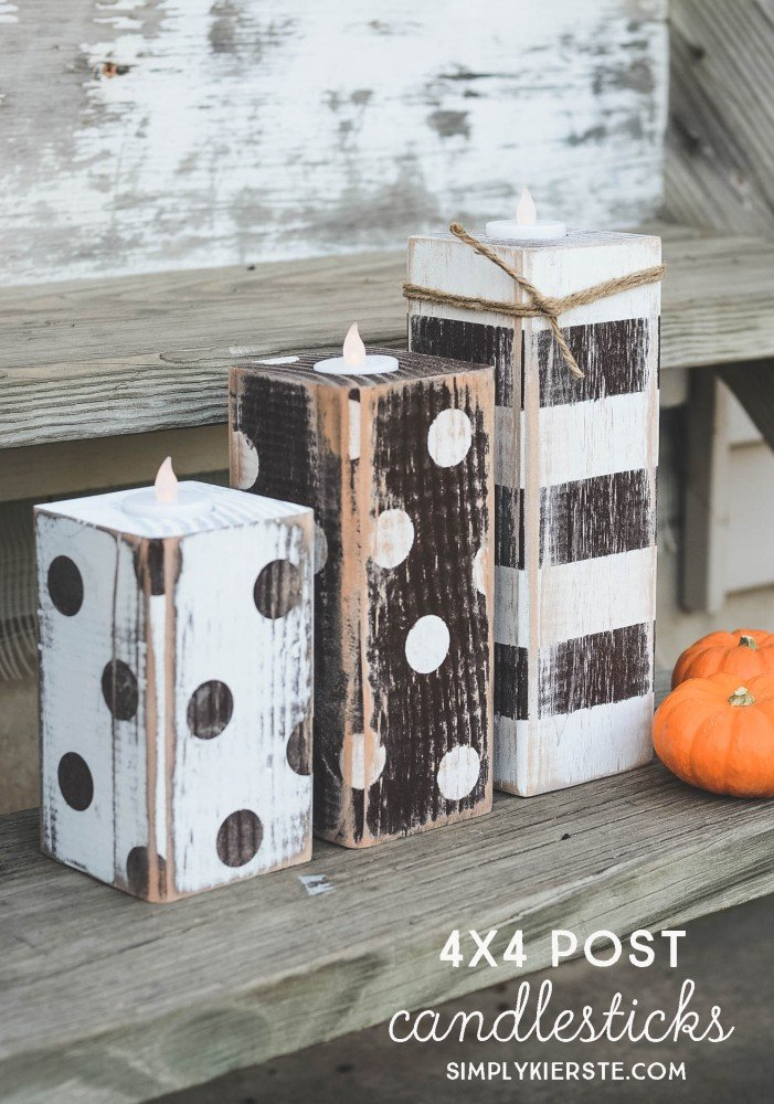 4x4 Post Striped & Polka Dot Candlesticks | oldsaltfarm.com