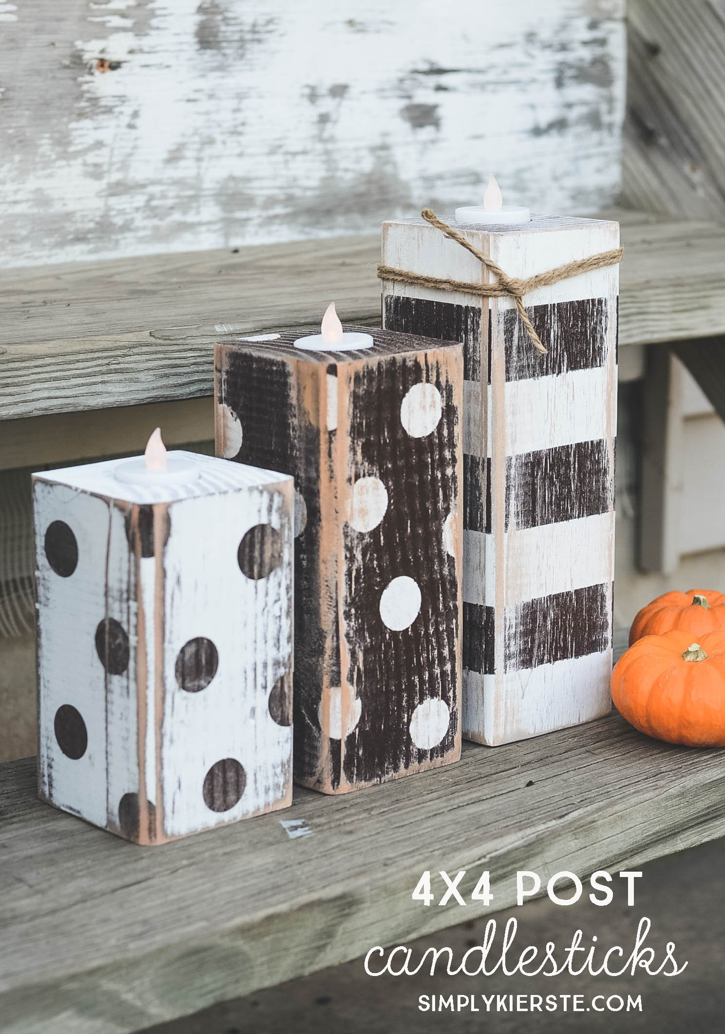 homemade photo book ideas - 4x4 Post Striped & Polka Dot Pumpkins