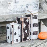 Striped & Polka Dot Fall Wood Candlesticks
