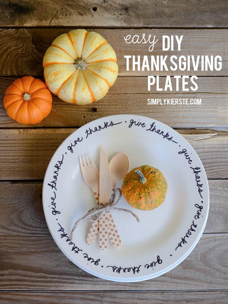 & Easy DIY Thanksgiving Plates | simplykierste.com