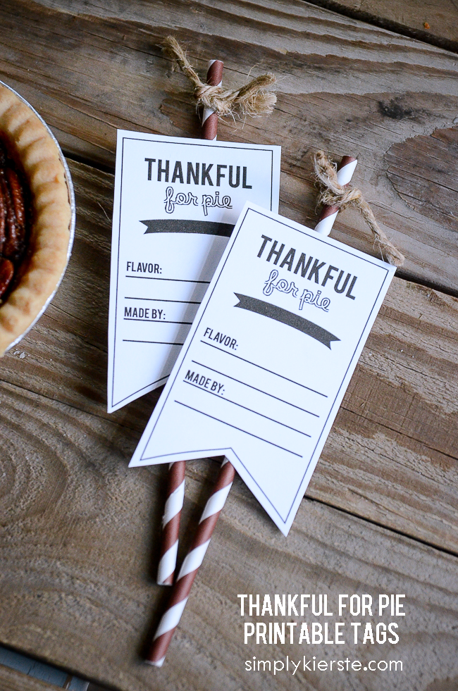 Thankful for Pie Printable Tags | siimplykierste.com